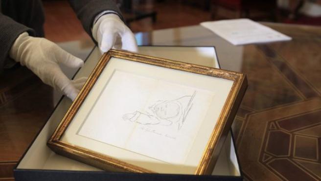 Vista de uno de los 66 dibujos realizados por Miguel de Unamuno recuperados por el Ministerio de Cultura tras localizarlos en la segunda edición de la Feria del Dibujo y la Estampa, celebrada en la Real Academia de Bellas Artes de San Fernando.