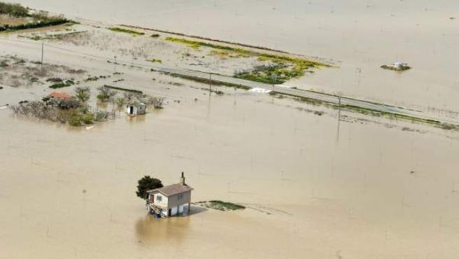 Imagen de las pasadas inundaciones en la zona de Miranda de Arga.