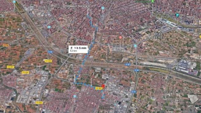 Distancia recorrida por la cabra entre València y Sedaví