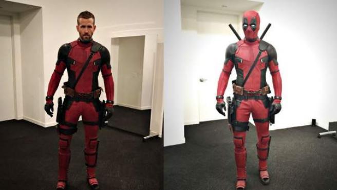 Dos fotografías de Ryan Rerynolds la primera vez que se puso el traje de Deadpool.