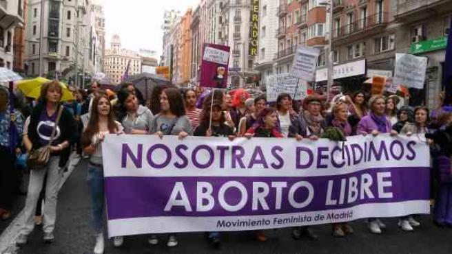 Manifestantes en una movilización por el aborto libre en Madrid