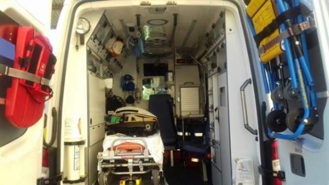 Un ambulancia, tras atender un suceso.