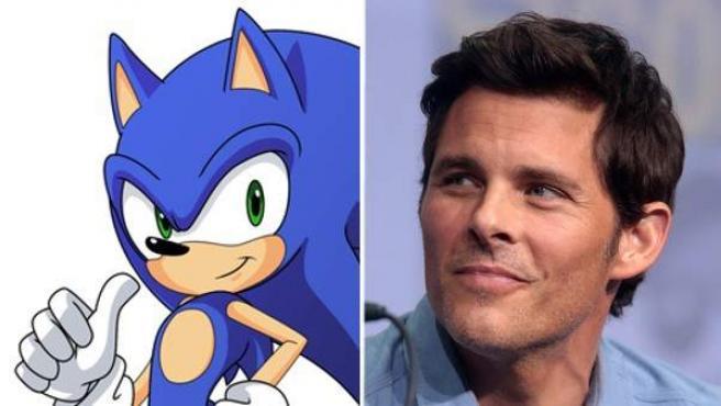 El personaje Sonic el Erizo y el actor James Marsden.