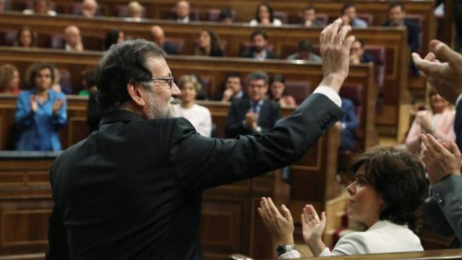 El jefe del Ejecutivo, Mariano Rajoy, se despide del Congreso.