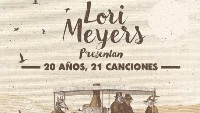 Portada del disco aniversario de Lori Meyers '20 años, 21 canciones' por sus dos décadas en la música.