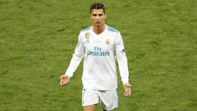 Cristiano Ronaldo durante la final de la Champions entre Real Madrid y Liverpool.