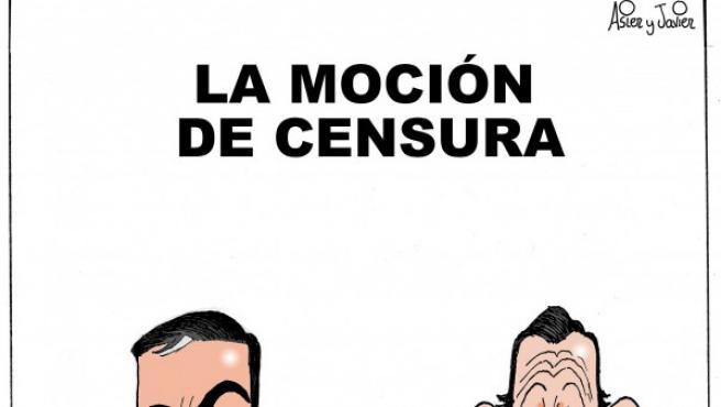 La moción de censura, viñeta de Asier y Javier.