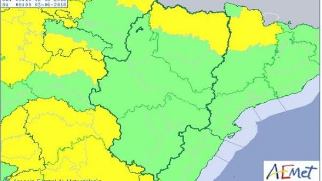 Aviso amarillo lluvia Pirineo.