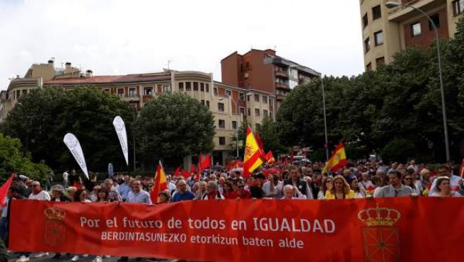 Manifestación contra la política lingüística del Gobierno de Navarra