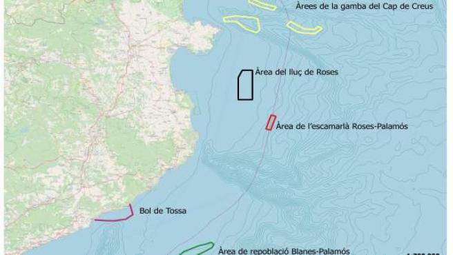Mapa de cogestión pesquera del litoral de Girona
