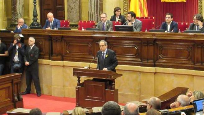El presidente de la Generalitat, Quim Torra, interviene en el Parlament.