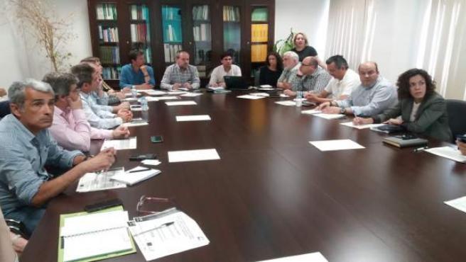 Algar (al fondo en el centro), preside la reunión