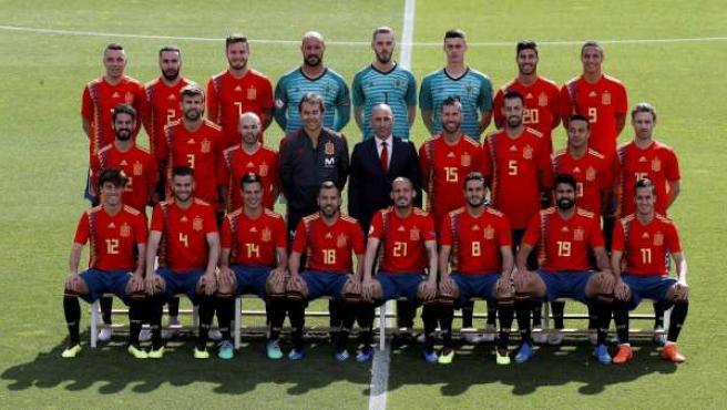 Foto oficial de la selección española de fútbol antes del Mundial de Rusia.