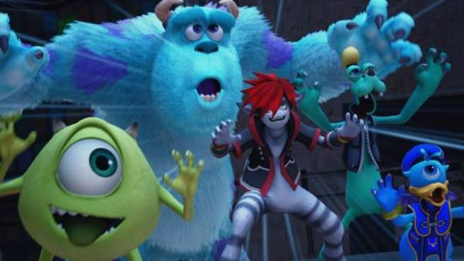 Sora, Goofy y Donald transformados en extrañas criaturas en el universo de 'Monstruos S.A.', en el videojuego 'Kingdom Hearts III'.