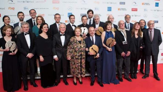 Premiados en la gala de entrega de la 23 edición de los Premios Forqué, celebrada en el Palacio de Congresos de Zaragoza.