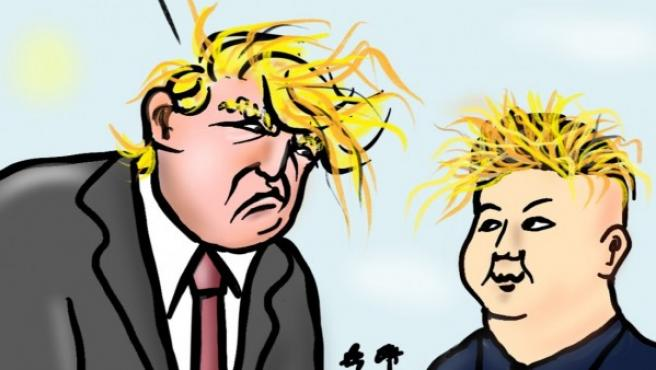 Trump y Kim Yong Un, viñeta de Superantipático.