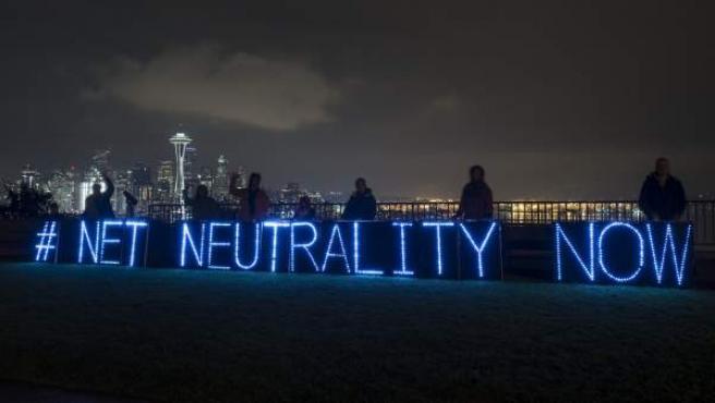 Acto en favor de la neutralidad en internet, en Seattle, EE UU, en febrero de 2015.