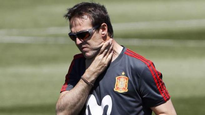 Julen Lopetegui, en un entrenamiento con la Selección española.