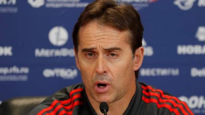 Julen Lopetegui, seleccionador español, en rueda de prensa.