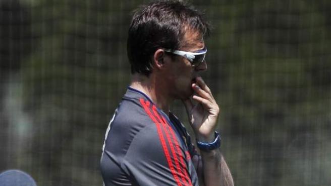 Julen Lopetegui, en un entrenamiento con la Selección española