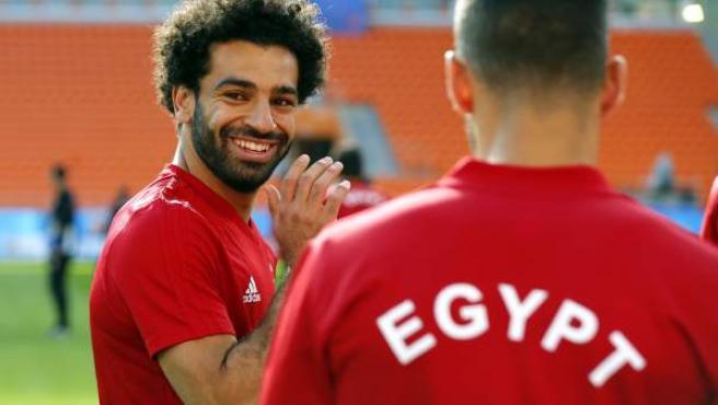 Salah, este jueves durante un entrenamiento con Egipto.