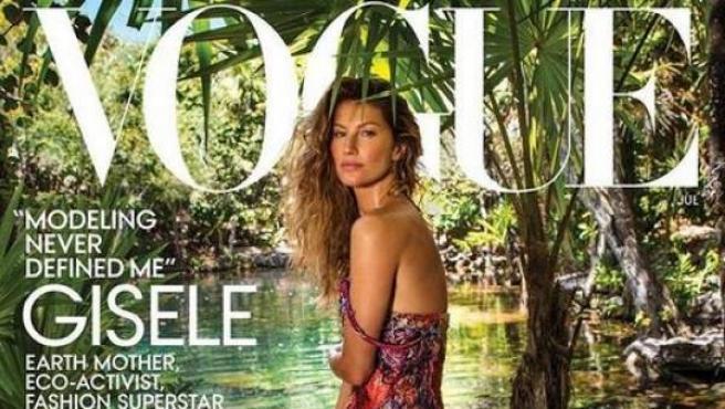 La modelo brasileña Gisele Bündchen protagoniza la portada de julio de la revista 'Vogue'.