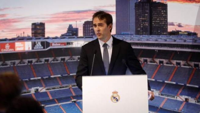 Julen Lopetegui, durante su presentación como entrenador del Real Madrid.