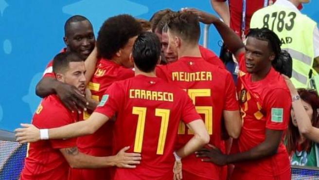Los jugadores de Bélgica celebran uno de los goles ante Panamá en el Mundial.