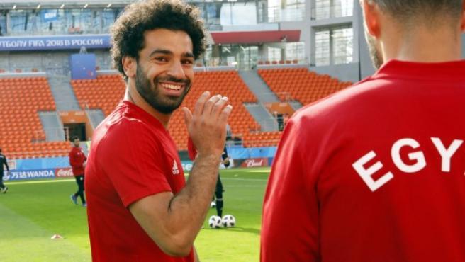 Mohamed Salah, en un entrenamiento.