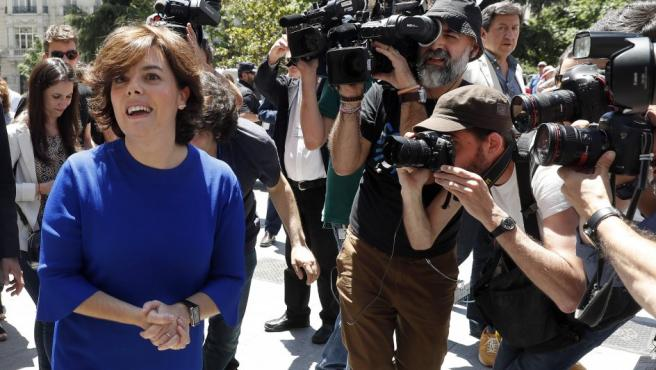 La exvicepresidenta del Gobierno Soraya Sáenz de Santamaría, ha anunciado, en la Puerta de los Leones del Congreso, que va a presentar su candidatura para presidir el PP.