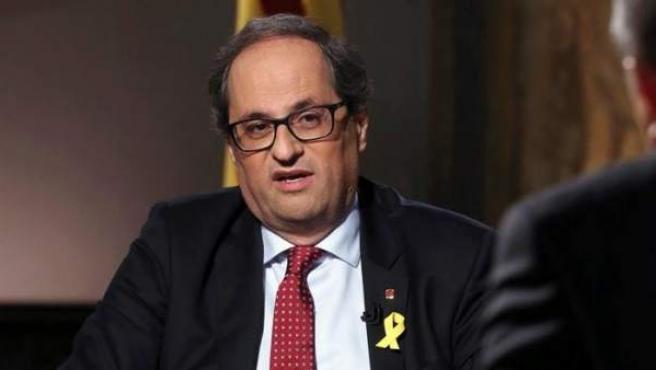 El presidente de la Generalitat, Quim Torra, en TV3.