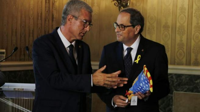 El president Quim Torra y el alcalde de Tarragona, Josep Félix Ballesteros.