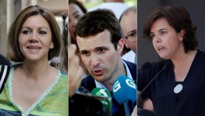 Los candidatos a presidir el PP María Dolores de Cospedal, Pablo Casado y Soraya Sáenz de Santamaría, en sus respectivos actos de arranque de campaña.