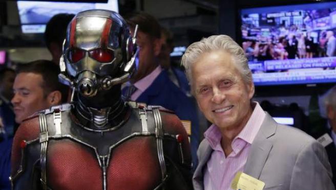 El actor Michael Douglas en la presentación de 'Ant-Man', película de Marvel, en Nueva York.