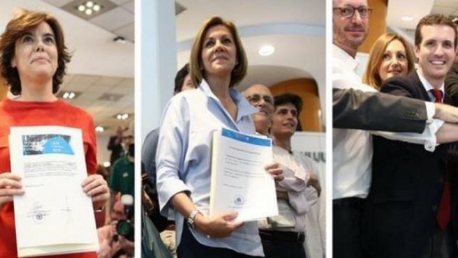 Tres de los candidatos a presidir el PP, Sáenz de Santamaría, Cospedal y Casado, entregan sus avales.