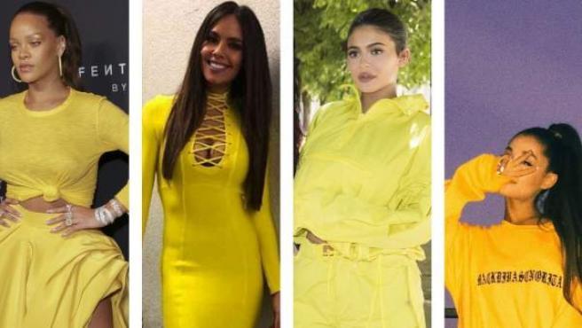 Rihanna, Cristina Pedroche, Kylie Jenner y Ariana Grande son algunas de las famosas que apuestan por el amarillo para sus estilismos.