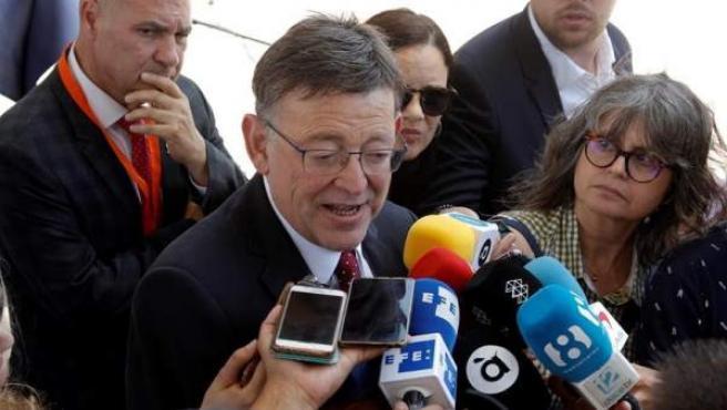 El presidente de la Generalitat Valenciana y secretario general del PSPV-PSOE, Ximo Puig, en Benidorm (Alicante), tras conocerse la detención del presidente de la Diputación de Valencia, Jorge Rodríguez.
