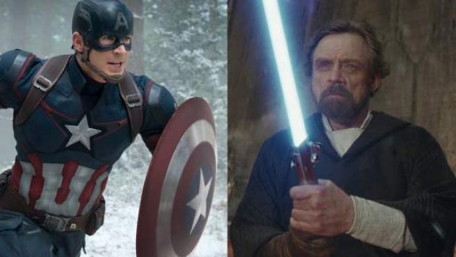 El Capitán América con su escudo y Luke Skywalker con su sable láser.