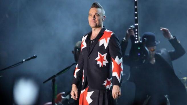 El cantante Robbie Williams durante un concierto en Australia en marzo de 2018.