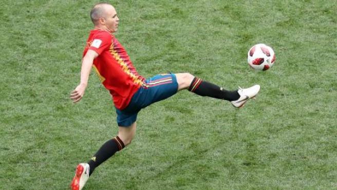 Andrés Iniesta, en su último partido con España, ante Rusia.