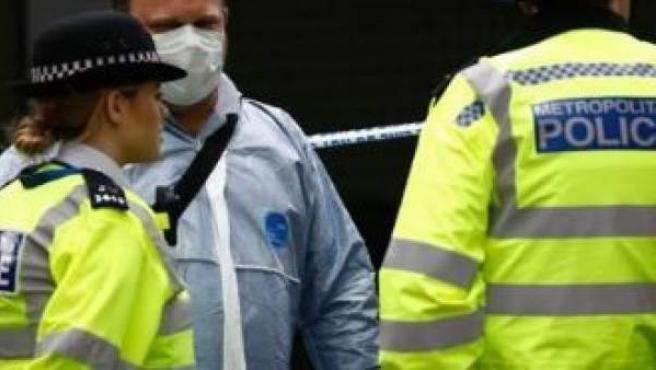 Una mujer policía y su compañero en Londres.