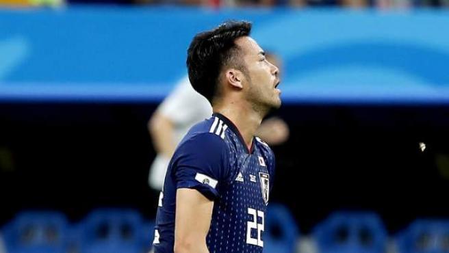 El jugador japonés Yoshida se lamenta tras caer en el Mundial, ante Bélgica.