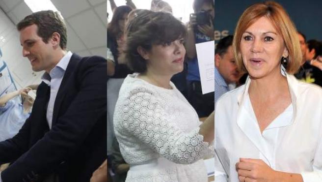 Pablo Casado, Soraya Sáenz de Santamaría y María Dolores de Cospedal.