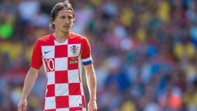 Luka Modric en un partido con la selección de Croacia.