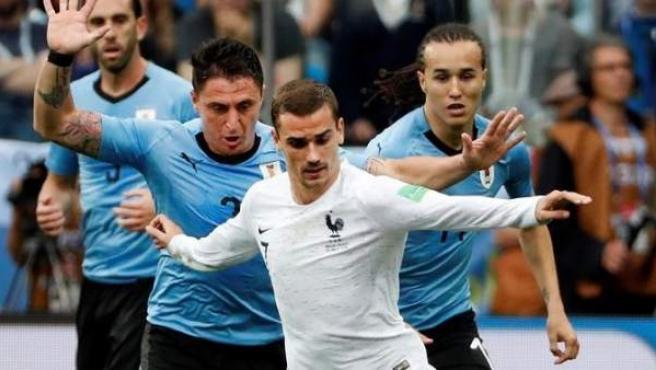 Antoine Griezmann, en el partido entre Francia y Uruguay de Rusia 2018.