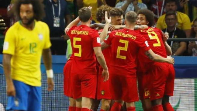 Bélgica celebra su victoria ante Brasil.