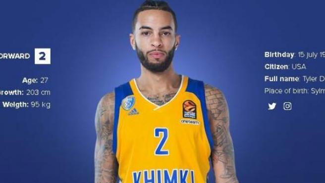 Perfil de Tyler Honeycutt en la web oficial del Khimki ruso.