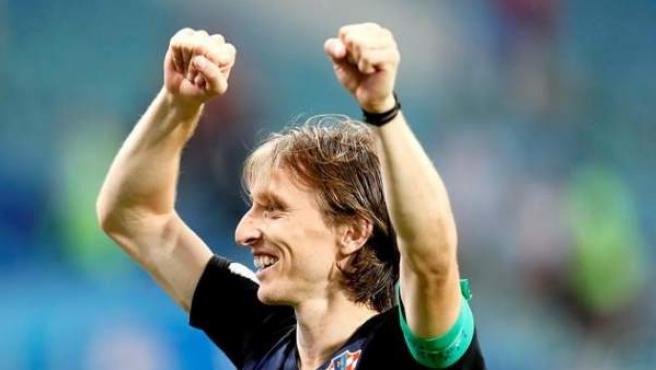 Luka Modric celebra el triunfo de Croacia ante Rusia en cuartos del Mundial 2018.
