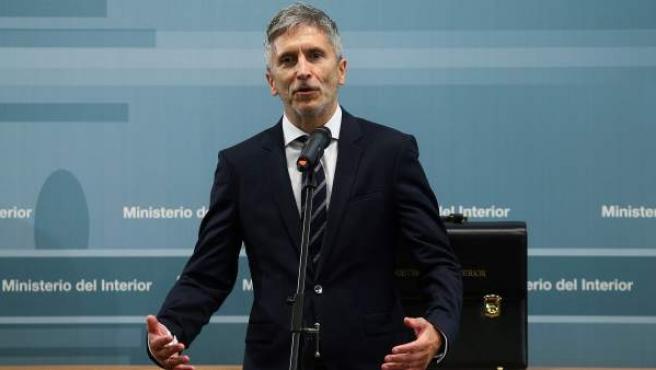 El ministro del Interior, Fernando Grande-Marlaska, durante la ceremonia de traspaso de cartera.