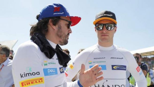Fernando Alonso y Stoffel Vandoorne conversan antes de una carrera en julio de 2018.